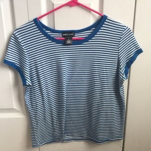 cropped tight blue/white striped tee